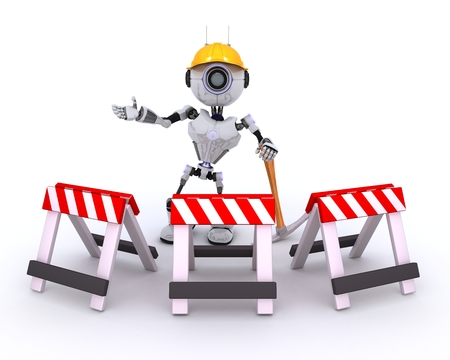 chrome man: 3D Render of Robot at construction site Stock Photo
