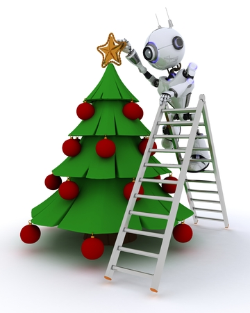 tree trimming: 3D Render of a Robot trimming the tree Stock Photo