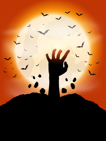 haunting: Halloween background with zombie hand coming out of the ground