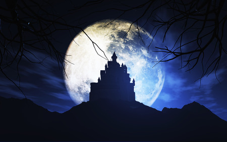 haunting: 3D render of a Halloween background with a spooky castle against a moonlit sky