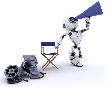 director's chair: 3D Render of a Robot in directors chair with megaphone