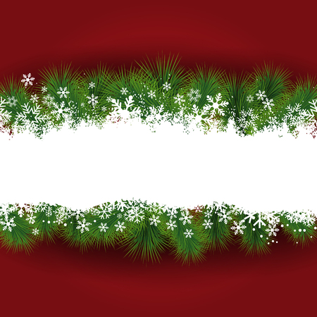christmas tree decorations: Christmas background with snowflakes and fir tree branches