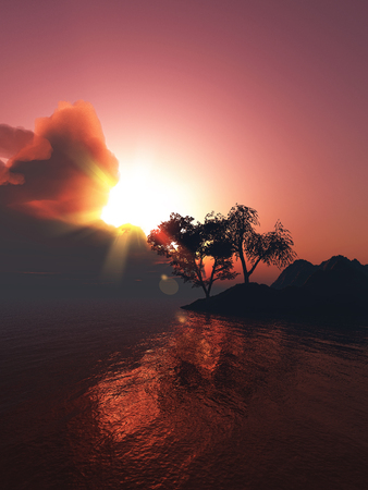 lake sunset: 3D landscape of a tree on a lake against a sunset sky Stock Photo