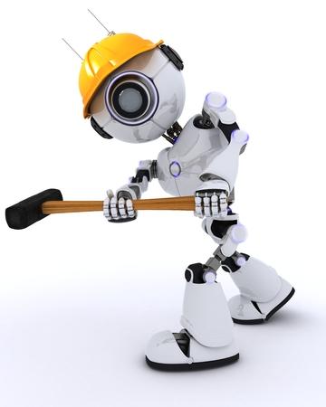 3D Render of a Robot Builder with a sledgehammer