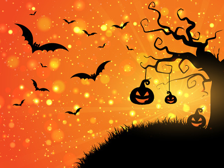 halloween: Halloween background with pumpkins and bats