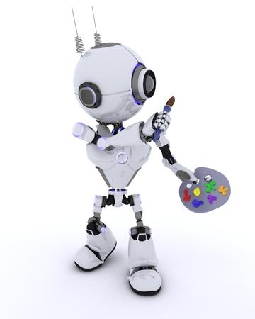 robot: 3D renderowanie robota z pędzlem i paletą