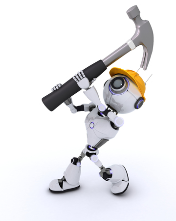 android robot: 3D Render of a Robot Builder with a hammer