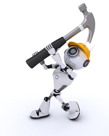 robot: 3D Render z Robot Builder z młotkiem Zdjęcie Seryjne
