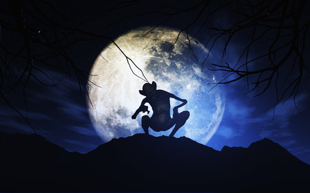 moonlit: 3D render of a Halloween background with creature against moonlit sky