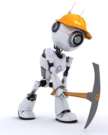 pickaxe: 3D Render of a Robot Builder with a pickaxe