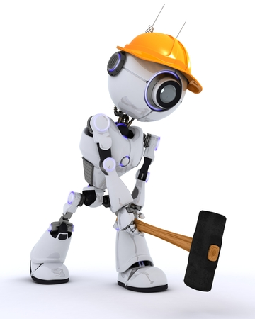 chrome man: 3D Render of a Robot Builder with a sledgehammer