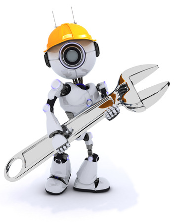 robot: 3D Render of a Robot Builder with a wrench