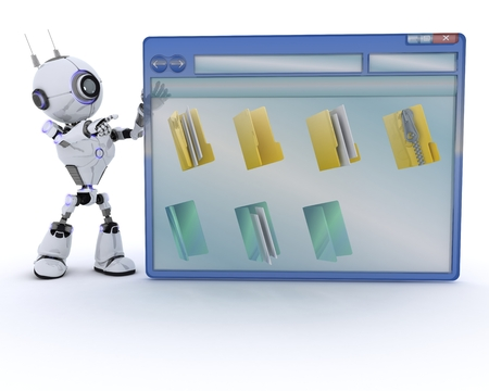 chrome man: 3D Render of a Robot with computer window
