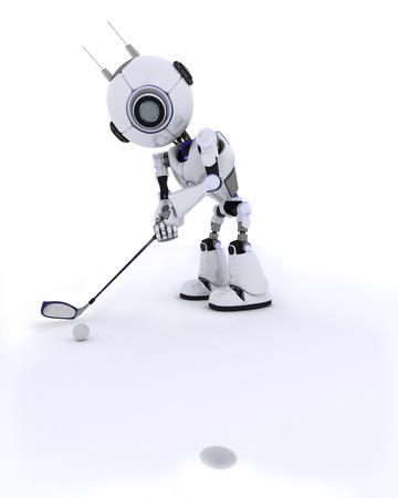 chrome man: 3D Render of a Robot playing golf