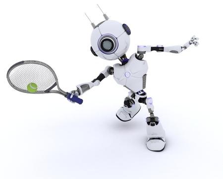 chrome man: 3D render of a Robot playing tennis