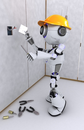 electrical contractor: 3D Render of a Robot electrical contractor Stock Photo