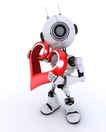 chrome man: 3D Render of a Robot with Heart