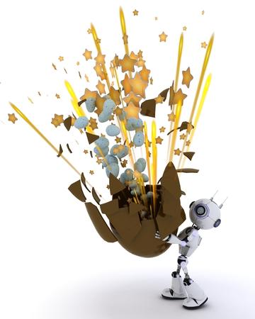 fiestas electronicas: Render 3D de un Robot con huevo de Pascua