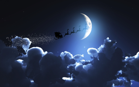cloudy night sky: 3D Christmas image of Santa flying through a moonlit sky Stock Photo