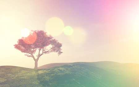 sky clouds: 3D landscape with a tree with a retro effect