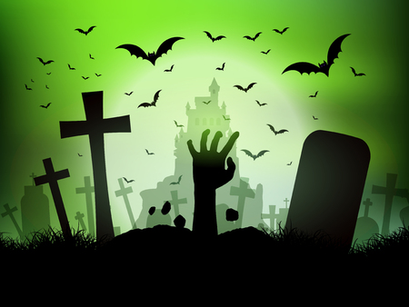 scary halloween: Halloween landscape with zombie hand coming out of a grave