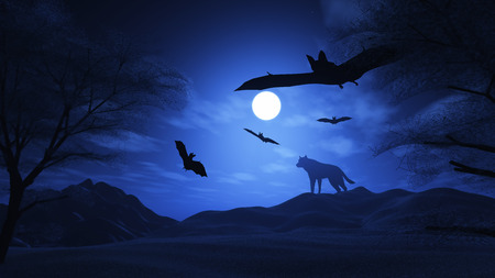 haunting: 3D render of a spooky landscape with wolf and bats