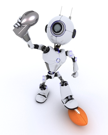 football trophy: 3D Render of a Robot with american football trophy Stock Photo