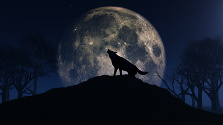 haunting: 3D render of a wolf howling at the moon