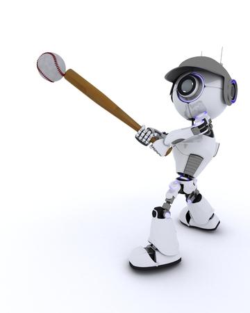 chrome man: 3D Render of a Robot playing baseball