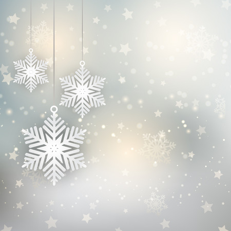 star ornament: Decorative Christmas background with hanging snowflakes