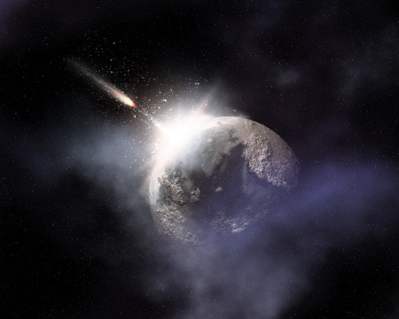 space background: Fictional space background with comet flying towards fictional planet
