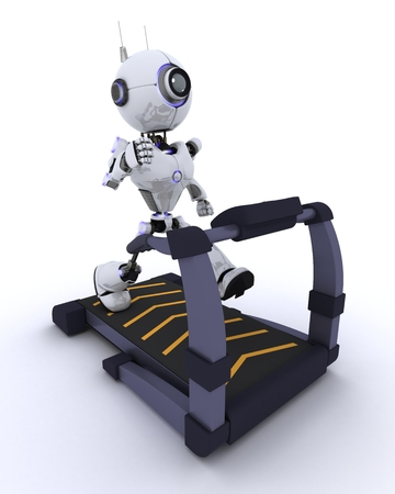 chrome man: 3D render of a robot at the gym running on a treadmill