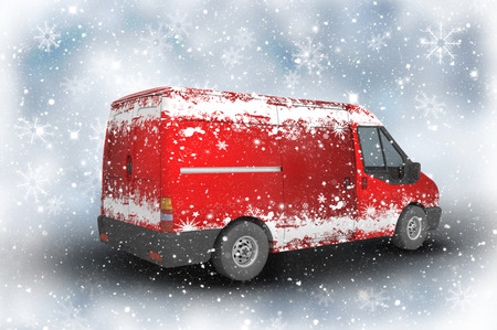 delivery: 3D Christmas delivery van on a sparkly background with snowflakes Stock Photo