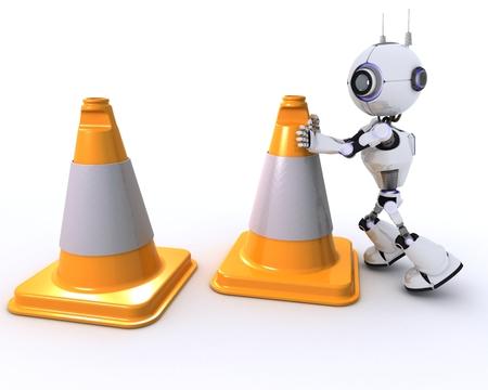 chrome man: 3D Render of a Robot Stock Photo