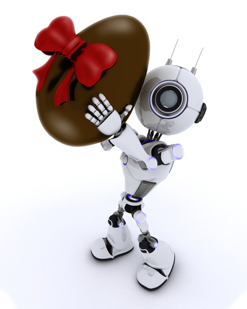 chrome man: 3D Render of a Robot with easter egg