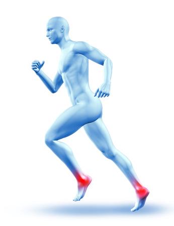cuerpos desnudos: 3D rinden de una figura masculina en ejecución