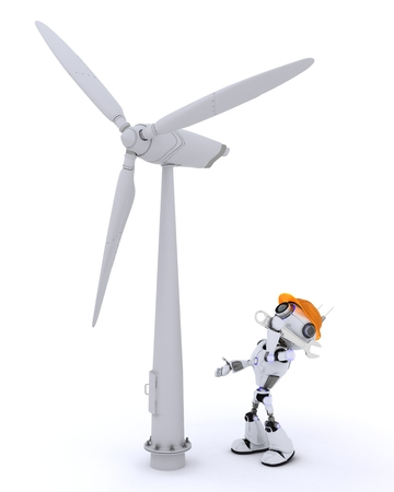 turbine: 3D Render of a Robot with wind turbine