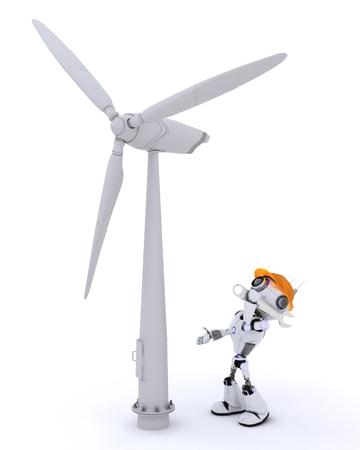 turbina: Render 3D de un Robot con turbinas de viento Foto de archivo