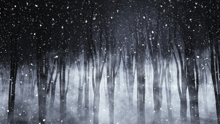 horror: 3D render of a spooky foggy forest on a snowy night