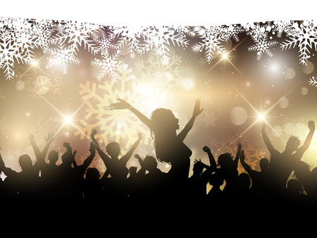 dancing: Silhouette of a party crowd on a Christmas background Stock Photo