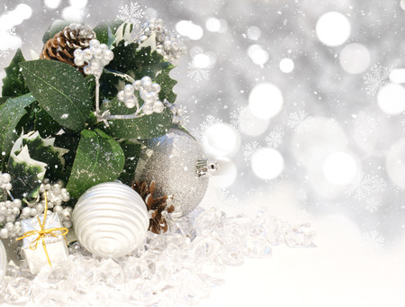 frosty: Christmas background with decorations on silver bokeh lights background Stock Photo
