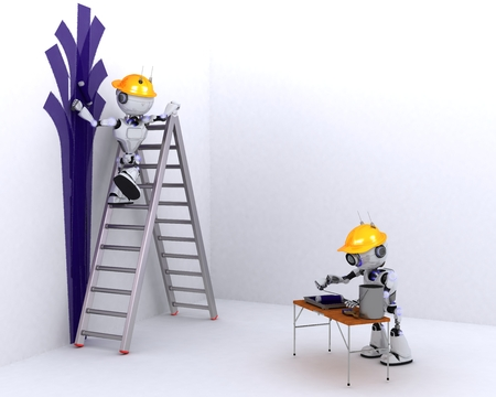 decorator: 3D Render of a Robot painter and decorator