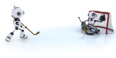chrome man: 3D Render of  Robots playing ice hockey