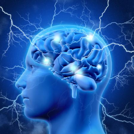 3D render van een mannelijk hoofd en de hersenen met de bliksem bouten