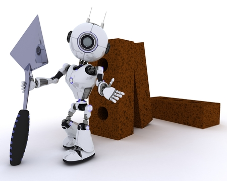 chrome man: 3D Render of a Robot with bricks and trowel