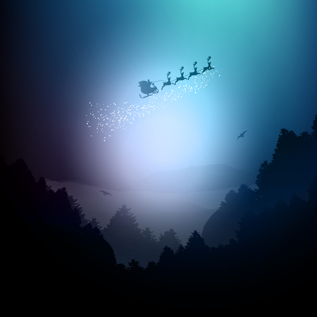 sunset lake: Santa flying over a landscape of mountains and trees Stock Photo