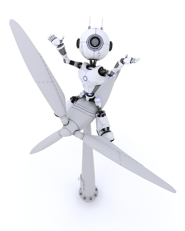chrome man: 3D Render of a Robot with wind turbine