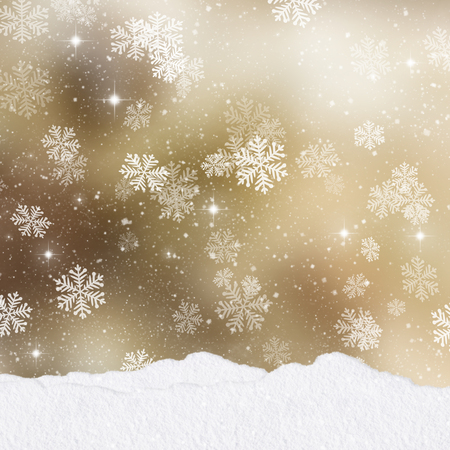 christmas gold: Mounds of snow on a gold Christmas background with stack of presents