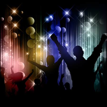 disco lights: Silhouettes of party people on a disco lights background Stock Photo