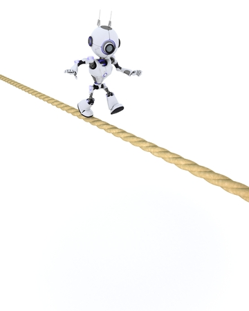 chrome man: 3D Render of a Robot on a tight rope Stock Photo